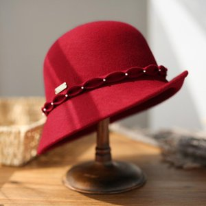Stingy Brim Hats Vintage Elegant Women Hat Pearl Ribbon Solid Color Wool Felt Fedoras With For Ladies Autumn Winter Female Cap