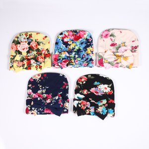 Baby Hat With Bow Cute Boy Girl Flower Print Bowknot Warm Infant Toddler Indian Turban Winter Cap Kids Soft Ins Cotton