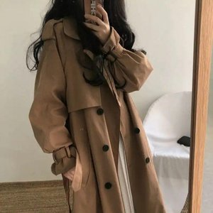 Women Trench Coat Long Style Temperament Bow Sashes Double-breasted Adjusted Student All-match Chic Ulzzang Slim Overcoat Trendy Ins