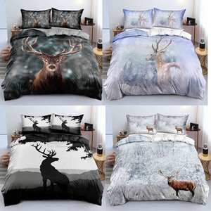 3D Deer Duvet Cover Pillowcases 2-3pcs Single Twin Full Queen King Size Bedding Sets Home Textiles