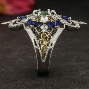 European and American Fashion High-End Cross-Border Gold Luxury Palace Style Jelly Green Mixed Color Crystal Ring New Arrival Sale