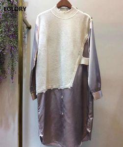 Корейская мода стиль платье 2021 осень зима женщин трикотажные лоскутные кнопки деко с длинным рукавом пурпурные зеленые повседневные платья