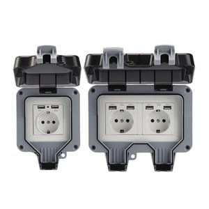 Outdoor Socket ABS Ip66 Waterproof Case EU and UK Plug Wall Power Sockets Box Single  Double Charging Port For Garden Workshop Home