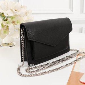 Women mini wallet on silver chain turn lock messenger bag card holder pochette black calfskin genuine leather purses crossbody handbags high quality shoulder bags