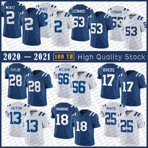 2 Carson Wentz Football Jersey 53 Darius Leonard 56 Quenton Nelson 28 Jonathan Taylor 17 Philip Rivers 13 T.Y. Hilton 25 Marlon Mack 18 Peyton Manning Manning cosido Jerseys