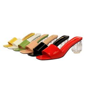 Мода Тапочки на высоком каблуке Летние Красивые Пипные Тонкие на каблуке на каблуке на круглых носок Слайды Женщины Мулы Абрикос