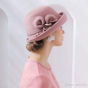 2020 Fibonacci 2018 nova marca de qualidade flanging floral lãs feltro fedoras outono outono inverno chapéus cúpula elegante banquete fedora chapéu