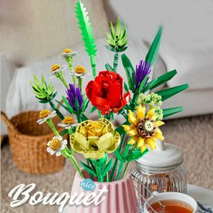 Cartoon Flower Bouquet Plant Home Decoration Action Figures Educational Children DIY Ornaments Birthday Toys