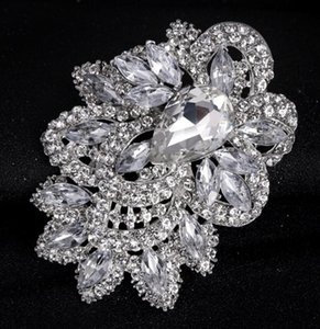 New Wedding Brooch Bouquet Pin large vintage silver flower Austrian Crystal brooches Fashion Hot Big Broach wjl4328