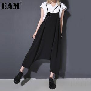 [EAM] New Spring Autumn High Waist Bruef Strap Black Big Size Loose Wide Leg Pants Women Jumpsuit Fashion Tide JR710 210326