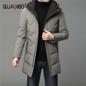 Men's Down & Parkas 2021 Winter Brand Business Casual Fashion Long Parka 90% White Duck Coat Men Windbreaker Jacket With Hooded Mens Clothes