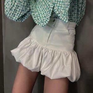 Skirts White Zipper High Waist Mini Short Skirt Female Black Denim Pleated Womens Summer Vintage Jeans Streetwear