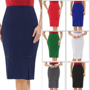 Women pencil skirt Vintage Retro Bow-Knot split solid Hips-Wrapped Bodycon knee length Skirts fall business office work skirt
