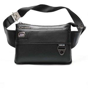 Men Waist Bags PU Leather Unisex Solid Zipper High Quality Bag Fanny Pack Bum Belt Chest In Black Color