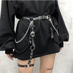 Donna Girls Gothic regolabile PU in pelle PU Hiphop Belt Rock Nightclub Sexy Jeans Vestito Cuore Punk Metal Waist Cinture a catena