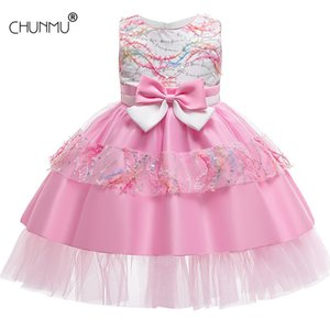 Summer Girl Clothes Flower Kids Dresses For s Lace Bowknot Wedding Children Princess 210507