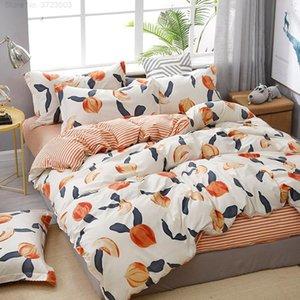 Bedding Sets Fruit Plant Printed Set Comfortable Down Duvet Cover Pillowcase Sheet Family Breathable Home Textiles