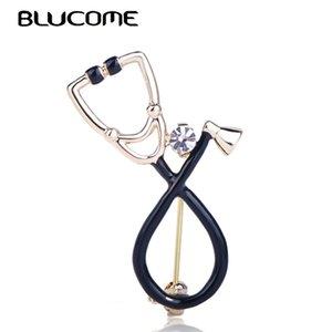 Stéthoscope brillant Broche Broche Blucome Cristal Enamel Black Pins Accessoires pour Infirmière Cadeaux Vêtements Broches