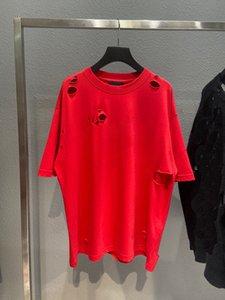 Men's Plus Tees Moda T Shirt Paris Lettera Stampa Stampa di alta qualità Cotton Ladies Manica Corta T-Shirtblack Bianco Colore rosso Colore Rosso Foro rotto Art Design Style EU Large Size
