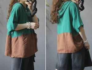 Literary women thin patchwork cotton linen short sleeves T-shirt summer 2021 loose slim hooded Tee pocket top