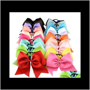 Kids Girls 8 Inch Large Solid Cheerleading Ribbon Bows Grosgrain Cheer Bow Tie With Elastic Band Rubber Hairband Beautiful Huilin C09 Cefqn