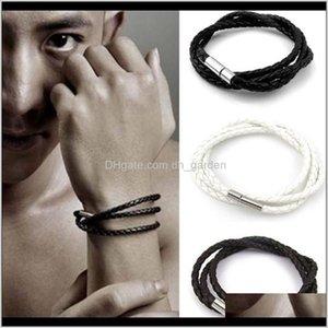 Mens Leather Bangle Bracelets Black Brown Mesh Magnetic Stainless Clasp Double Wrap Wristband Beautiful Titanium Ps0053 Vtskp Jakcn