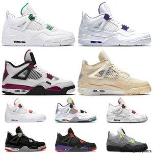 Top Fashion Travis Scotts sail 4 4s Jumpman Court Purple womens Mens Basketball Shoes Raptors Orange Metallic Neon PSGs trainers Sneakers
