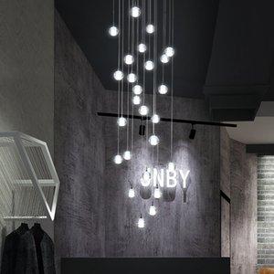 Lámparas colgantes Moderna Bola de cristal simple LED Láquina de araña Villa interior Sala de estar Escalón Iluminación Lobby Clubhouse Decor Luces colgantes