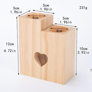 Wooden Tea Light Candle Holder Heart Hollowed-out Candlestick Romantic Table Decoration for Home Birthday Party Wedding Decoration DWD5693