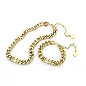 Fashion choker necklace for men women gold cuban link chain bracelet lovers jewelry With BOX set