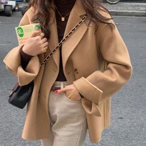 Winter Coat Womens Oversize Fashion Cashmere Wool Coats Outerwear Female Short Thickening Warm Woolen Overcoat Women Trench Women's & Blends