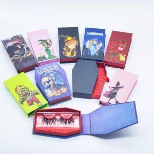 Wholesale Eyelashes Box Halloween Makeup Eyelash Empty Case Make Up Tools Lash Boxes False 25mm Lashes Packaging Cases