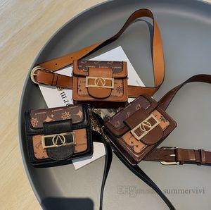 Designer children printed purse girls square PU leather belt waist bags kids metals letter buckle chain single shoulder bag women mini purses Q2213