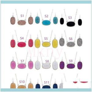 Earrings & Sets Jewelryoval Style Resin Drusy Druzy Sier Necklace Earings Luxury Designer Jewelry Set For Women Wedding Party Gift Christmas