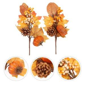 Decorative Flowers & Wreaths 2pcs Lovely Branch Decors Simulated Pumpkin Plant Home Decor