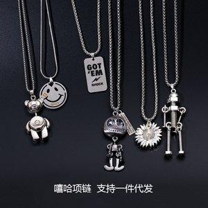 Hip Hop Necklace Fashion Hiphop Men's and Women's Long Neck Simple Sweater Chain Personalized Pendant Chain Punk Accsori