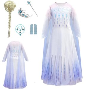 2021 Costume For Girls With Accessory Ice And Snows 2 White Dress Kids Halloween Outfit Snow Queen Cosplay Party Clothing HH21-681