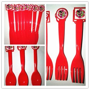 Packaging Dinner Service 10pcs 30pcs Minne Mouse Tableware Sets Theme Party Plastic Knife Fork Spoons For Kids Birthday Supplies Decoration
