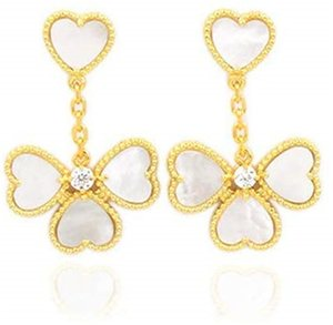 Fashion Beautiful Four Leaf Clover Love Dangle Long Stud Earrings with Diamonds 18K Gold S925 Silver for Van Women&Girls Wedding Valentine's Day Jewelry Gifts
