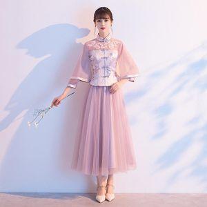 Nedime Pembe Lady Çin Elbiseleri Zarif Örgü Cheongsam Etek Geleneksel Düğün Parti Kıyafeti Vestidos Büyük Boy Etnik Clothin