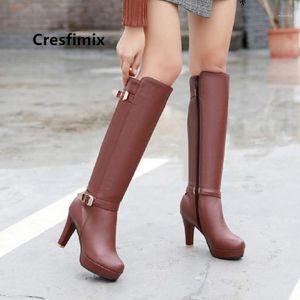 Cresfimix Damskie Butée Femmes Casual Brown High High Heel Bottes Lady Mode Sweet Pu En Cuir Long Bottes Plus Taille Blanc C60251