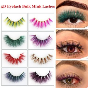 Colorful 5D Mink Eyelashes 15mm 20mm Eye makeup False lashes Soft Natural Thick Fake Eyelashes Lashes Extension Beauty Tools 32 styles DHL Free