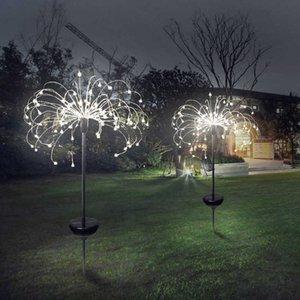 Solar Fireworks Lights 120 Светодиодная Строка Лампы Водонепроницаемый Открытый Садовый Освещение Газонные Лампы Новогодние Украшения Новый GGA2520