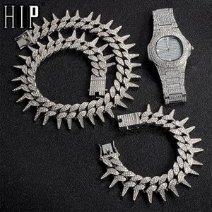 Hip Hop 25MM 3PCS KIT Heavy Watch+Necklace+Bracelet Bling Thorns Crystal + Iced Out Cuban Rhinestones Chains For Men Jewelry
