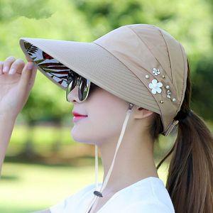 Yaz Güneş Şapka Inci Ayarlanabilir Büyük Kafaları ile Geniş Kararmış Plaj UV Koruma Paketlenebilir Vizör 1 adet Ltnshry Geniş Ağız Şapkalar