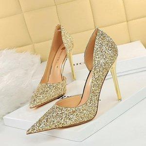 Dress Shoes Glitter Bling High Heels Woman Pumps Wedding Sandals Sexy Pointed Toe Pump Shallow Heel Slides Big Size Sandalias Mujer