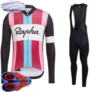 Rapha 팀 겨울 사이클링 저지 세트 망 열 양털 긴 소매 셔츠 턱받이 바지 키트 산악 자전거 의류 레이싱 자전거 스포츠 정장 S21050763