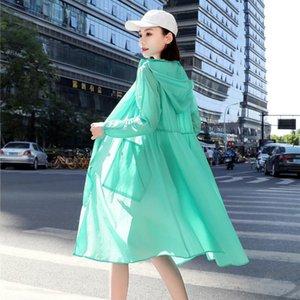 Women's Trench Coats 2021 Summer Thin Loose Coat Women Long Cardigan Female UV Sun Protection Hooded Sunscreen Beach Windbreaker Y407