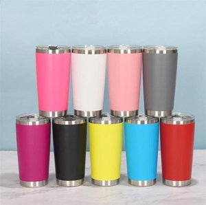 16 Colors 20oz Tumblers Stainless Steel Vacuum Insulated Double Wall Wine Glass Thermal Cup Coffee Beer Mug With Lids For Travel fy4412
