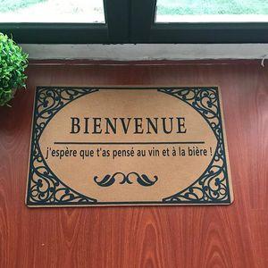 Capacete de boas-vindas engraçado para a porta de entrada Língua francesa Bem-vindo, espero que você pensei em vinho e cerveja! Tapetes de carpete de Flannel.